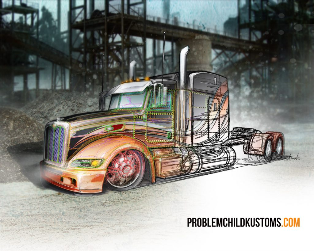 custom big rig paint illustration technique