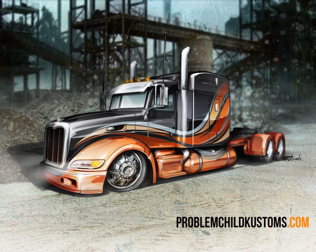 finished custom big rig illustration technique