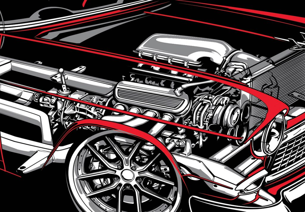 drawing cutaway engine