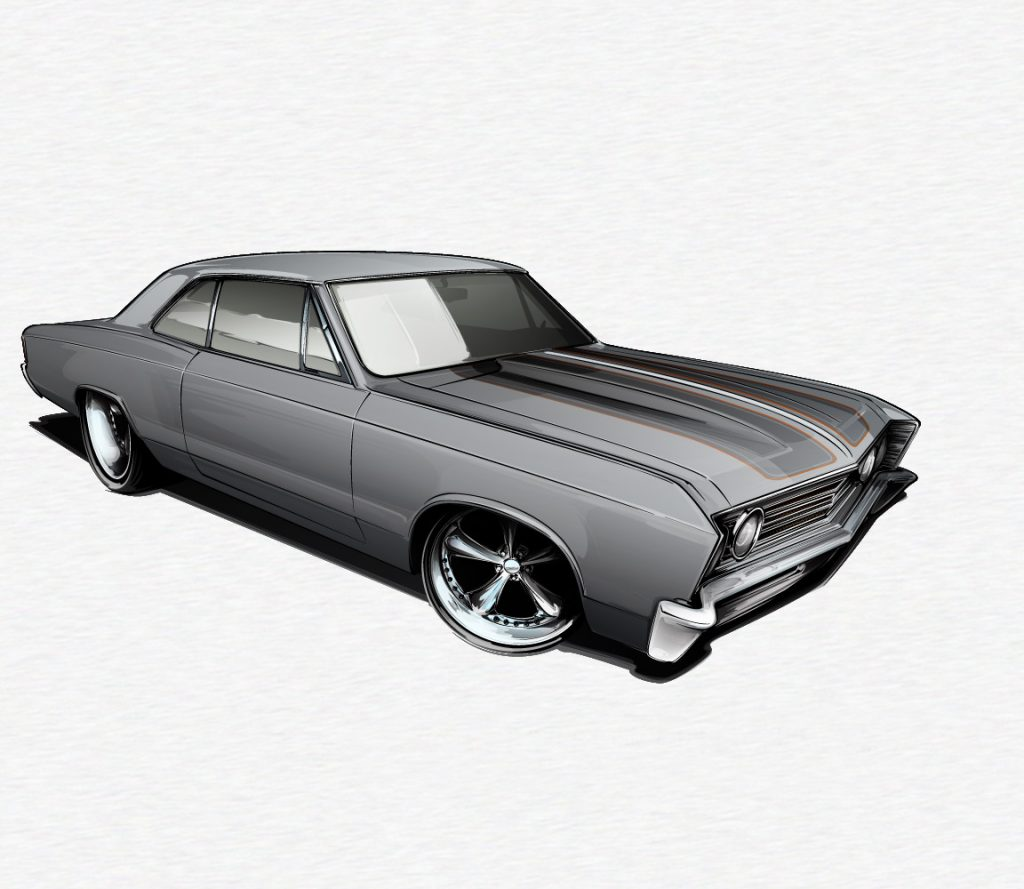 muscle car drawing tutrial