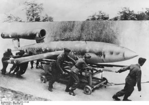 German ground crews rolling a V-1 into position