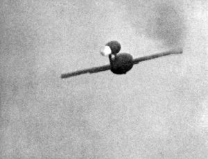 A V-1 rocket in flight over the English Channel