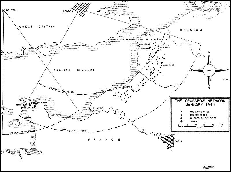 Map showing the German V-1 launch sites in relation to their direction to London. The zone resembles a crossbow, hence naming the operation Operation Crossbow