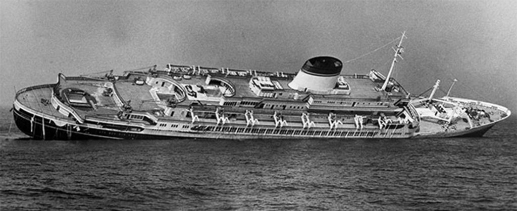 SS Andrea Doria listing after shipwreck with the Stockholm