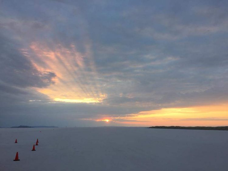 A beautiful picture of the sun rising at the Bonneville Salt Flats