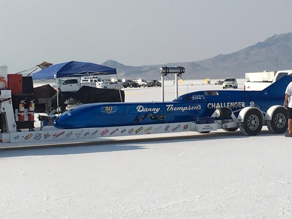 Challenger 2 sits on it's trailer at Bonneville Speed Week 2018
