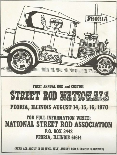 The flyer for the inagural Rod and Custom Nationals in 1970.