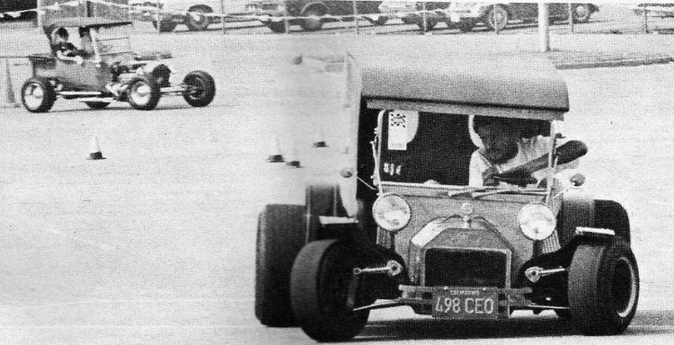 "Jim Babb driving the ""Streetkhana"" at the first Street Rod Nationals in 1970"