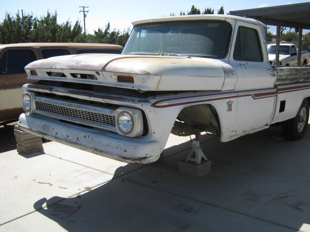 1964 Chevy truck, with the stock front suspension removed
