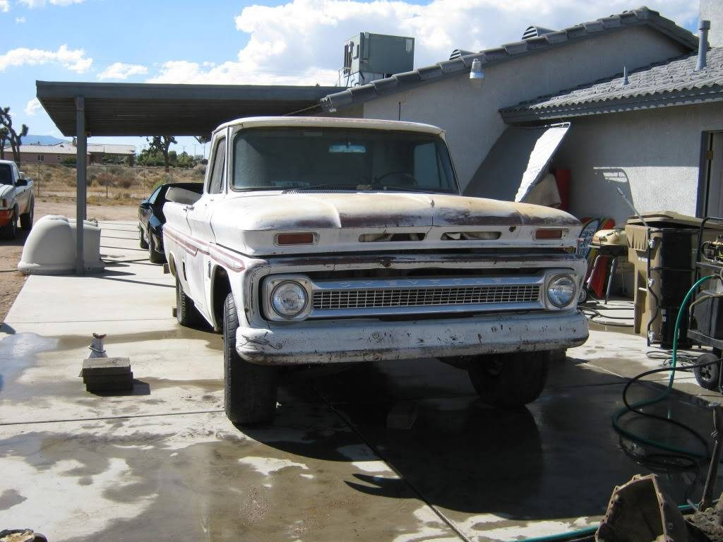 1964 Chevy truck with 1979 suspension installed, front view