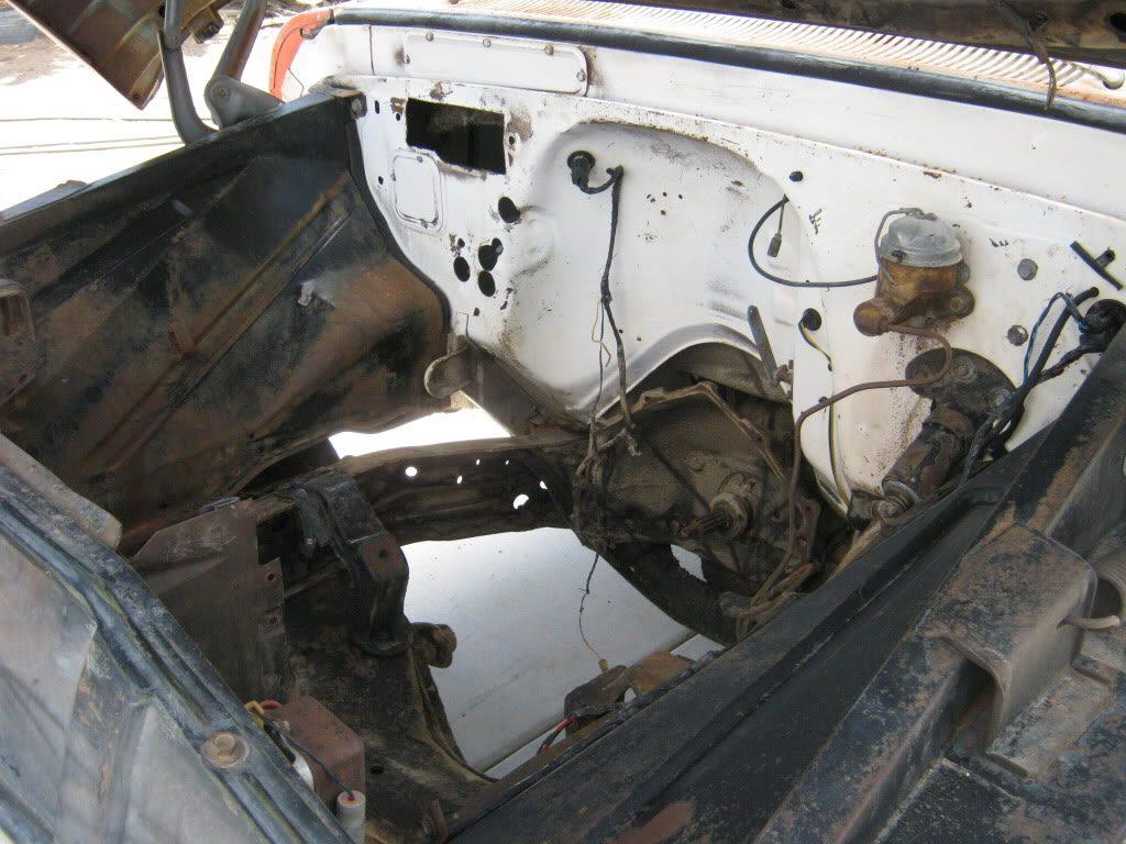 1964 Chevrolet truck under hood shot after steamcleaning