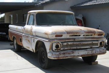 1964 Chevy truck known as White Trash sitting on the patio
