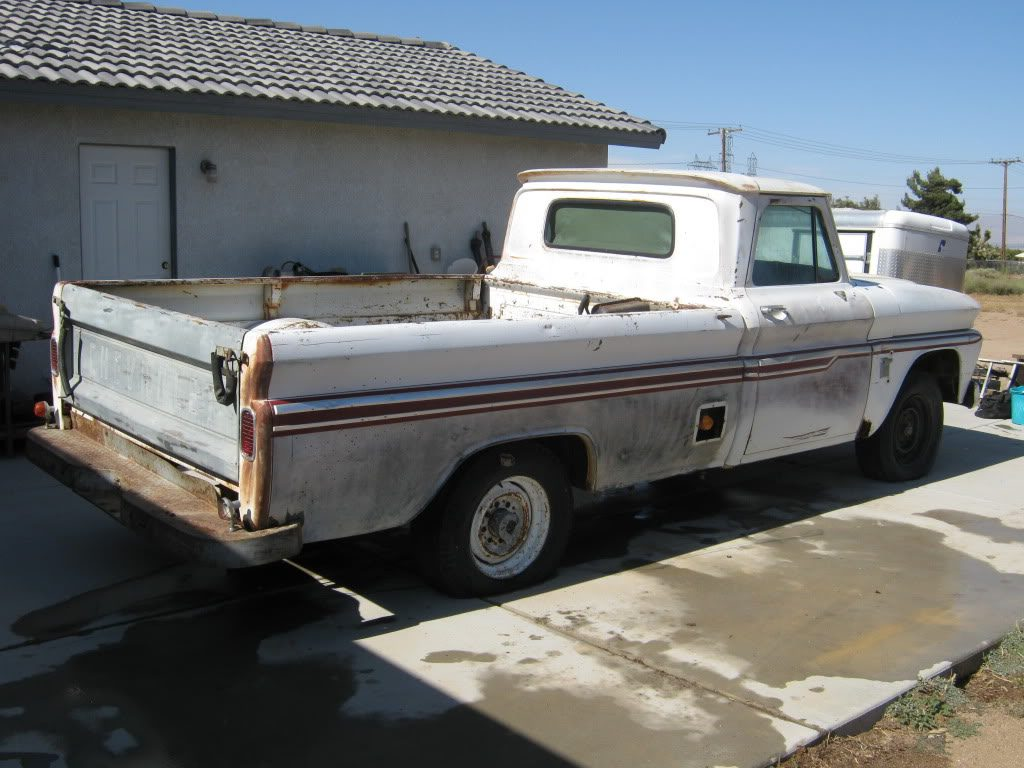64 Chevy Truck, passenger side rear after CLR treatment