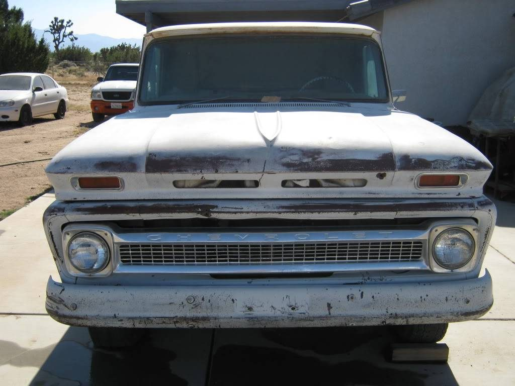 64 Chevy truck with an aluminum grille