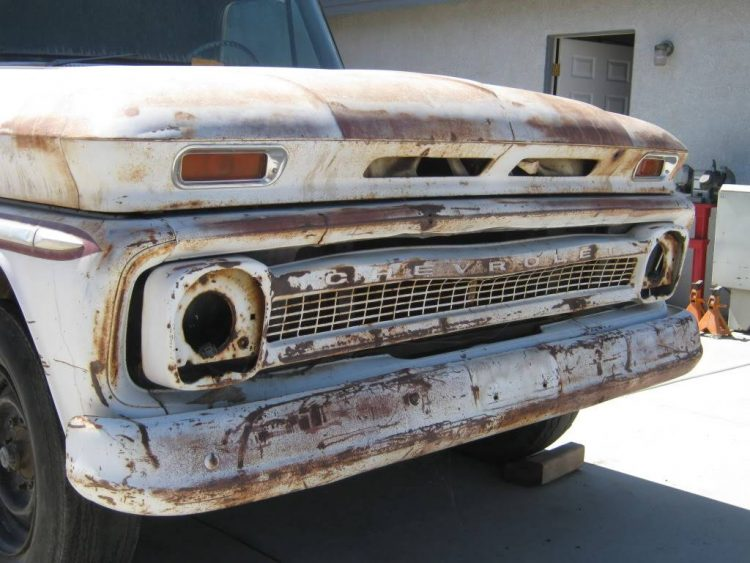 64 Chevy truck with thrashed original grille