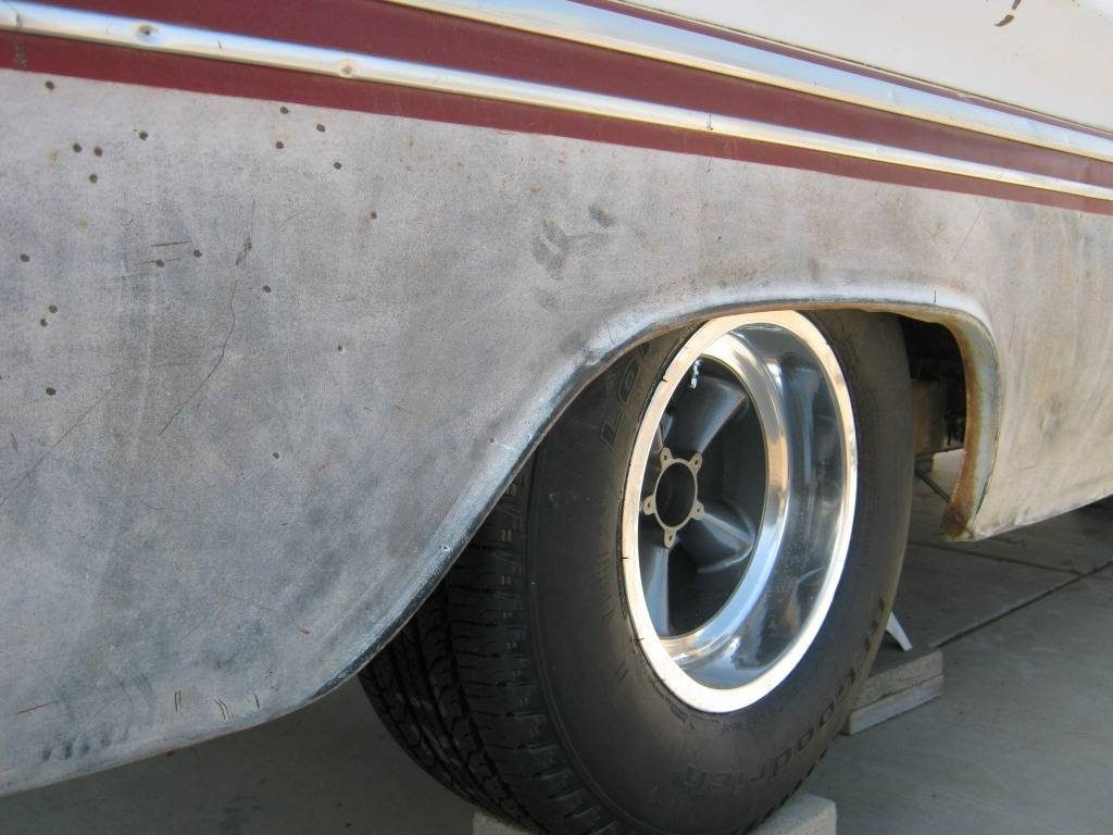 Rear wheel mocked up under the '64 Chevy truck.