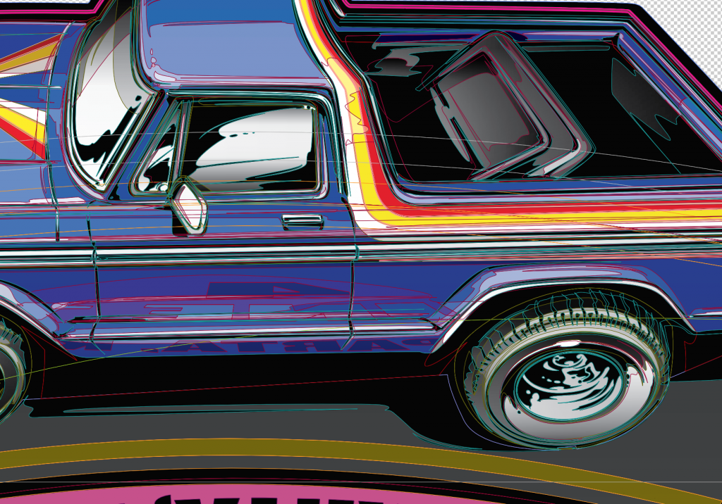 bronco stripe vector detail