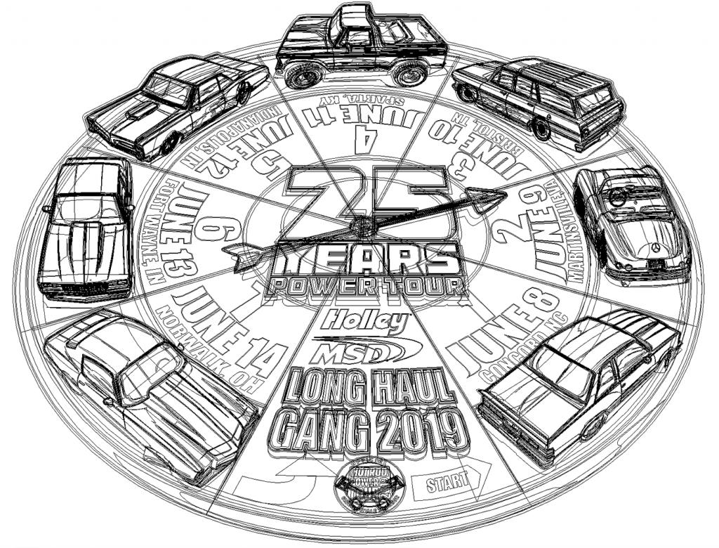 power tour magnet vecor art outline view